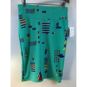 Cassie Teal and Multicolor Geometric Pattern S38
